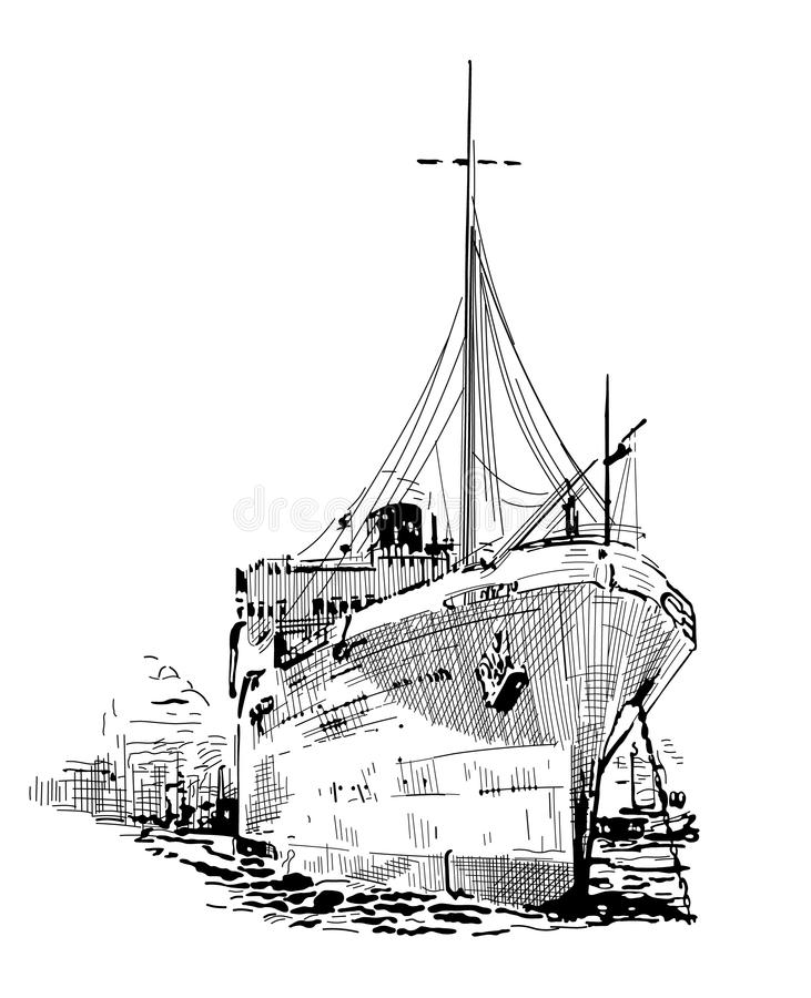 Vrachtschip stock illustratie