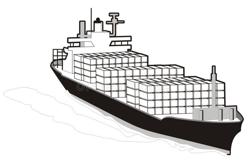 Vrachtschip vector illustratie