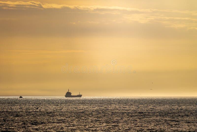 Vrachtschip in de Horizon royalty-vrije stock foto's