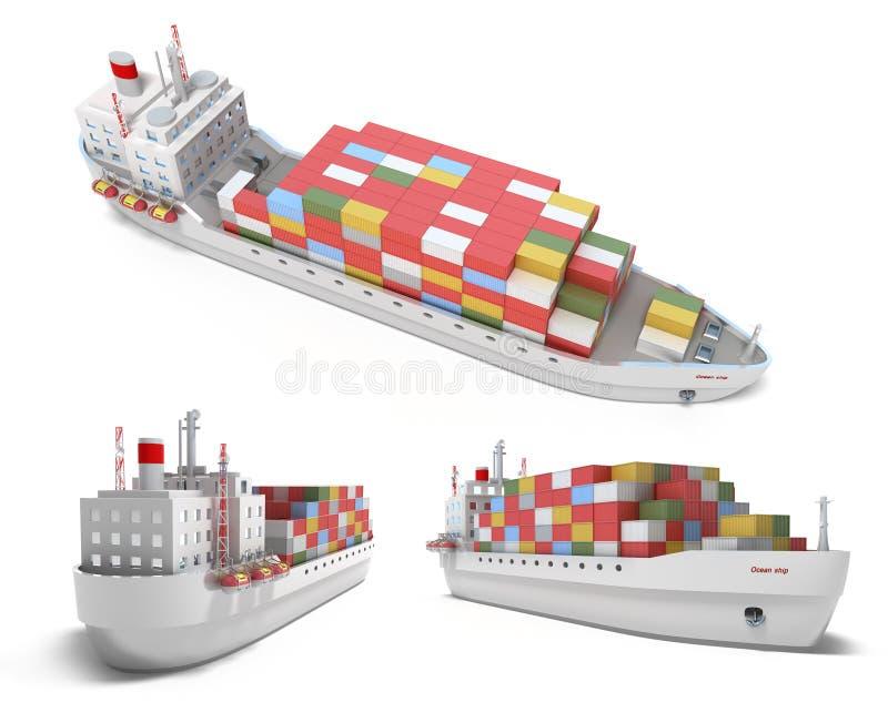 Vrachtschip met containers royalty-vrije illustratie
