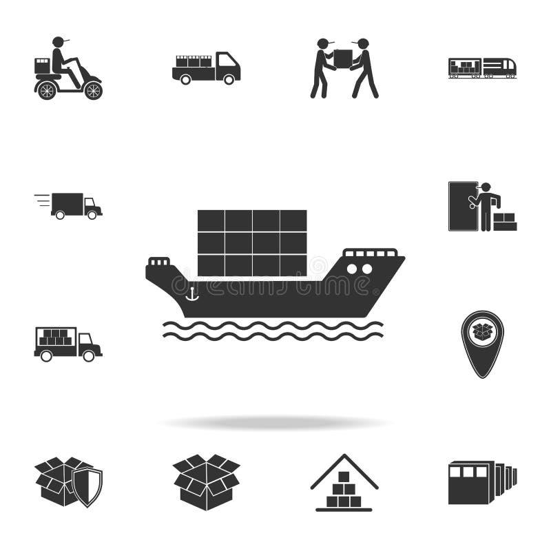 vrachtschip met containerspictogram Gedetailleerde reeks logistische pictogrammen Premie grafisch ontwerp Één van de inzamelingsp stock illustratie