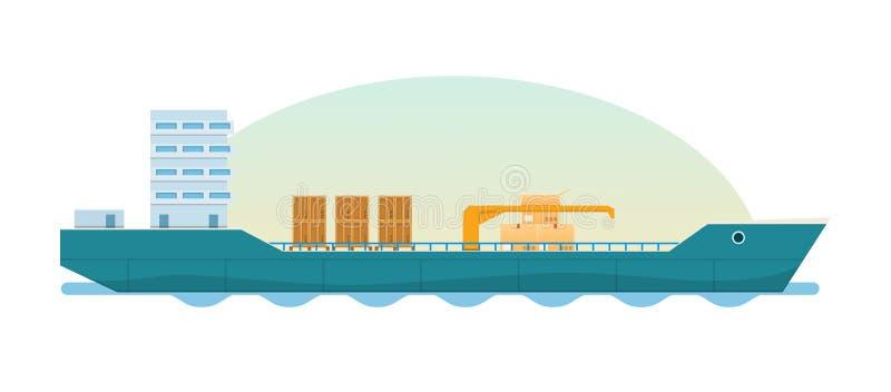 Vrachtschip, tanker met containers en dozen Het geladen Schip van de Container royalty-vrije illustratie