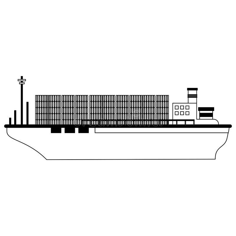 Vrachtschipboot met zwart-witte containers royalty-vrije illustratie