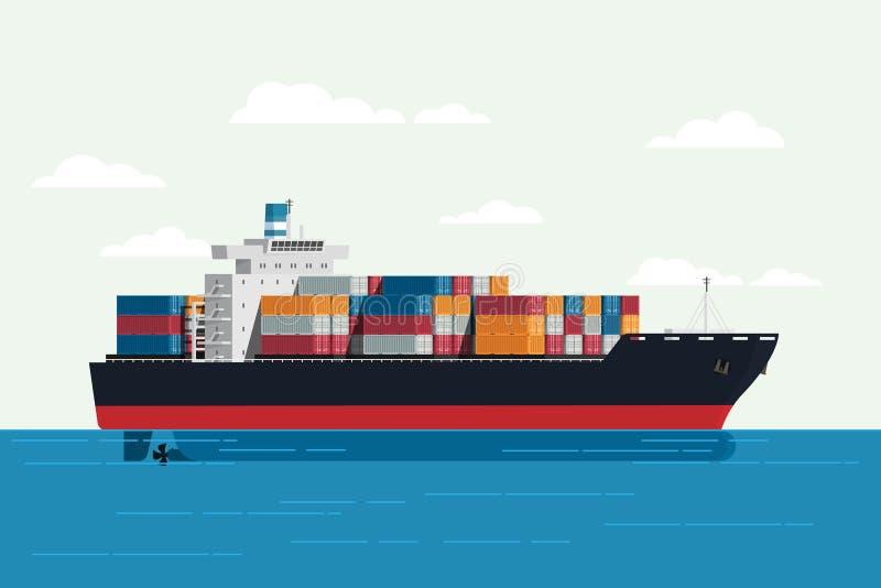 Vrachtschipcontainer in het oceaanvervoer, die freig verschepen royalty-vrije illustratie