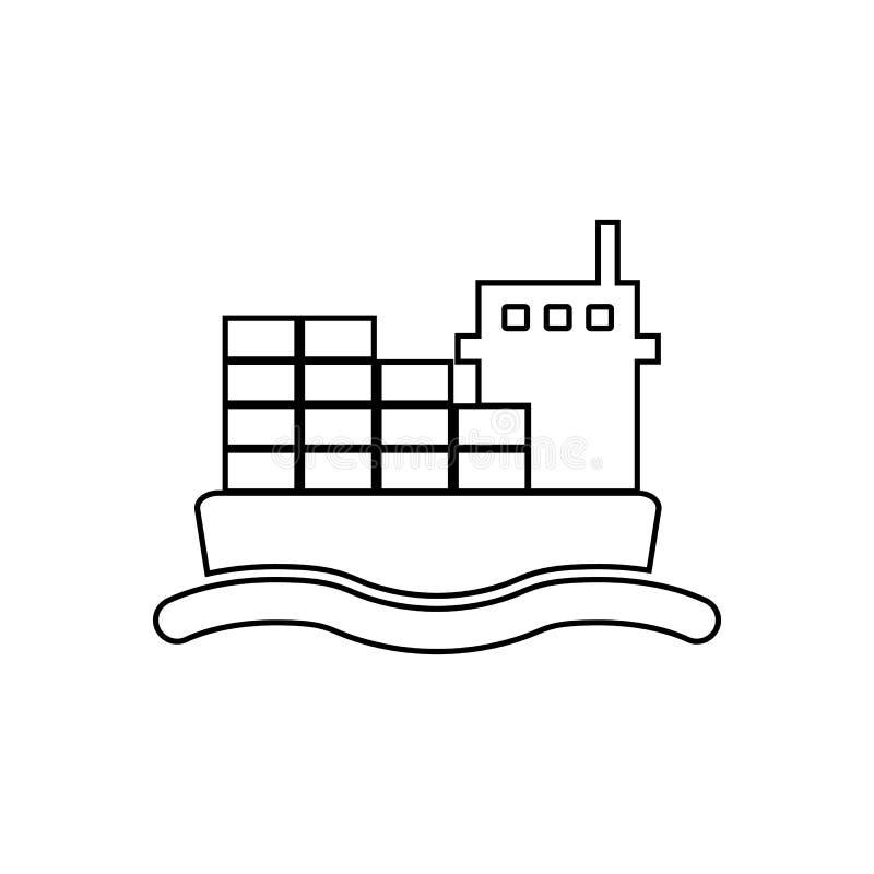 Vrachtschippictogram Element van vervoer voor mobiel concept en webtoepassingenpictogram Overzicht, dun lijnpictogram voor websit stock illustratie