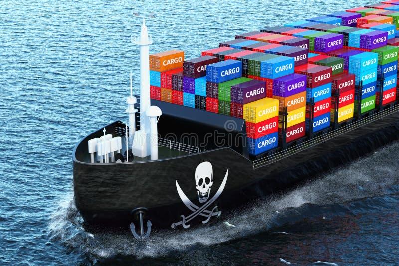 Vrachtschipschip met containers die van de piraterij de smokkelende lading binnen varen stock illustratie