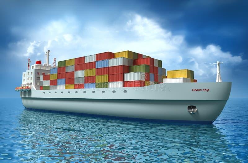 Vrachtschipzeilen over de Oceaan royalty-vrije illustratie