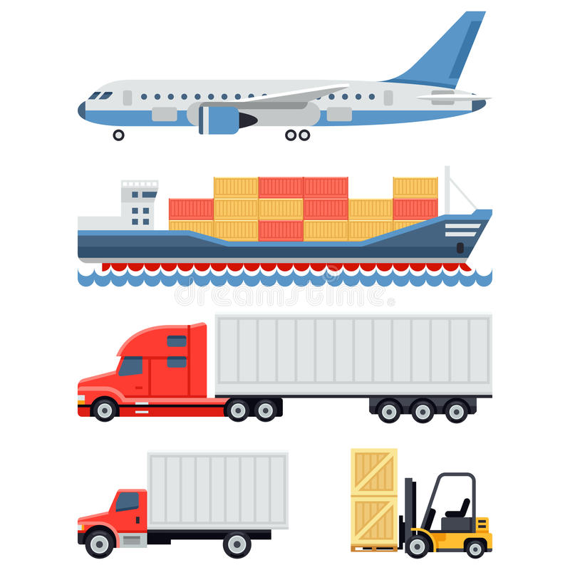 Vrachtvervoer en vlakke leveringslogistiek stock illustratie
