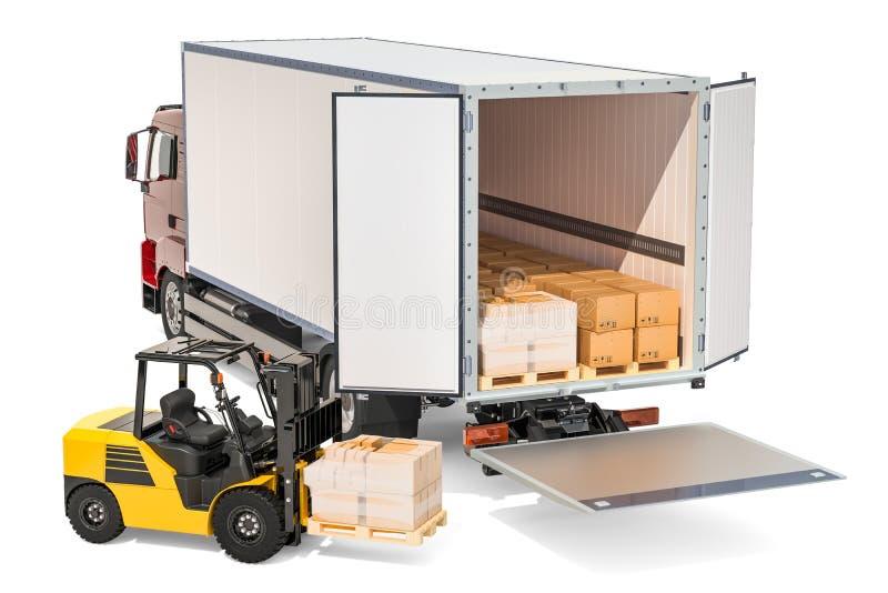 Vrachtvervoer, leveringsconcept Vrachtwagen met pakketten en royalty-vrije illustratie