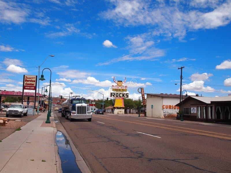 Vrachtvervoer op Route 66 Holbrook Arizona royalty-vrije stock fotografie