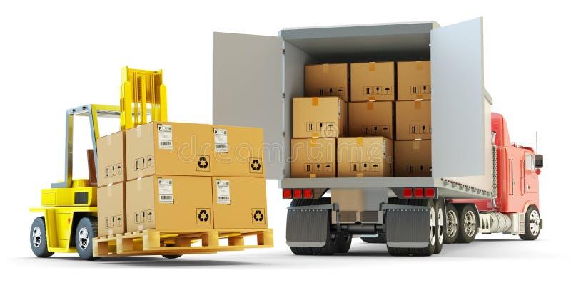 Vrachtvervoer, pakkettenverzending en het concept van de pakhuislogistiek stock illustratie