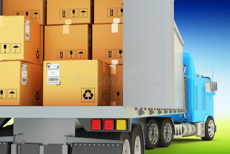Vrachtvervoer, pakkettenverzending en het verschepen goederenconcept royalty-vrije illustratie