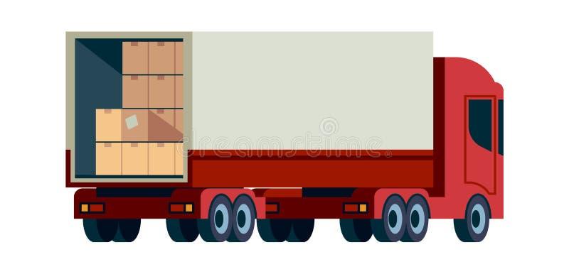 Vrachtvrachtwagen leveren Ladingsvervoer met platte illustratie van de palletvector royalty-vrije stock afbeeldingen