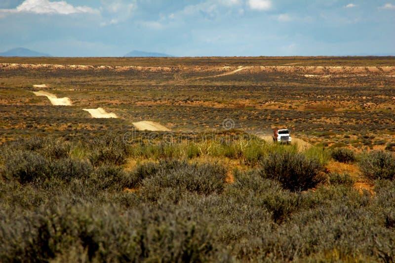 Vrachtwagen bij het kronkelen van woestijnweg stock afbeeldingen