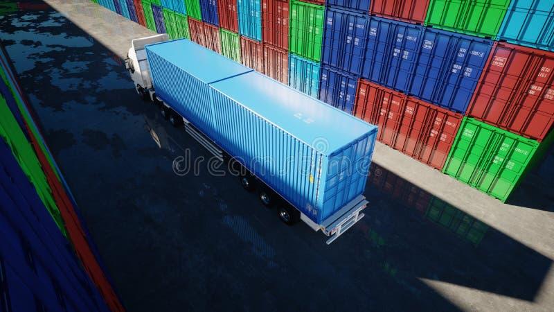 Vrachtwagen in containerdepot, pakhuis, zeehaven De containers van de lading Logistisch en bedrijfsconcept het 3d teruggeven vector illustratie