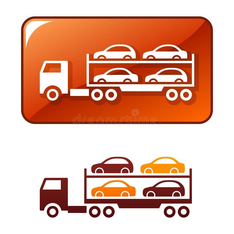 Vrachtwagen die de auto's vervoert. Vector pictogram vector illustratie