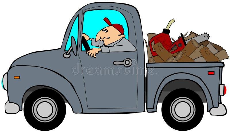 Vrachtwagen die met hout wordt geladen vector illustratie
