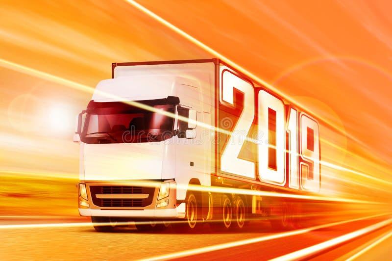 Vrachtwagen 2019 die zich bij nacht bewegen royalty-vrije stock foto's