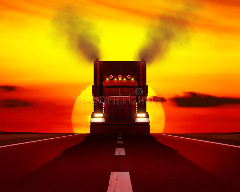 Vrachtwagen die zich op de weg bewegen royalty-vrije stock fotografie