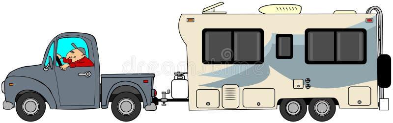 Vrachtwagen en aanhangwagen vector illustratie
