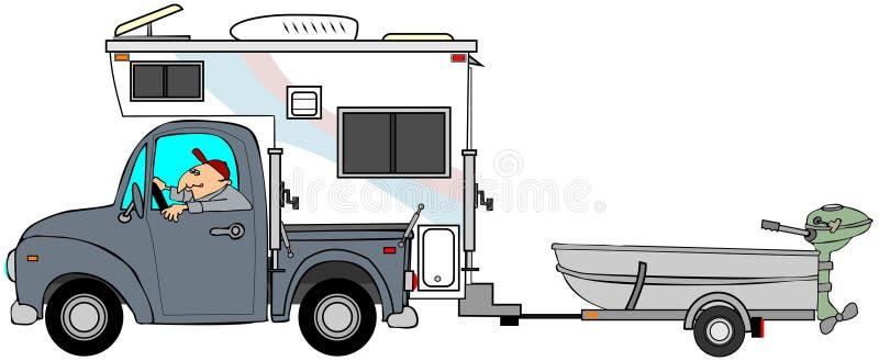 Vrachtwagen en kampeerauto die een kleine boot trekken stock illustratie