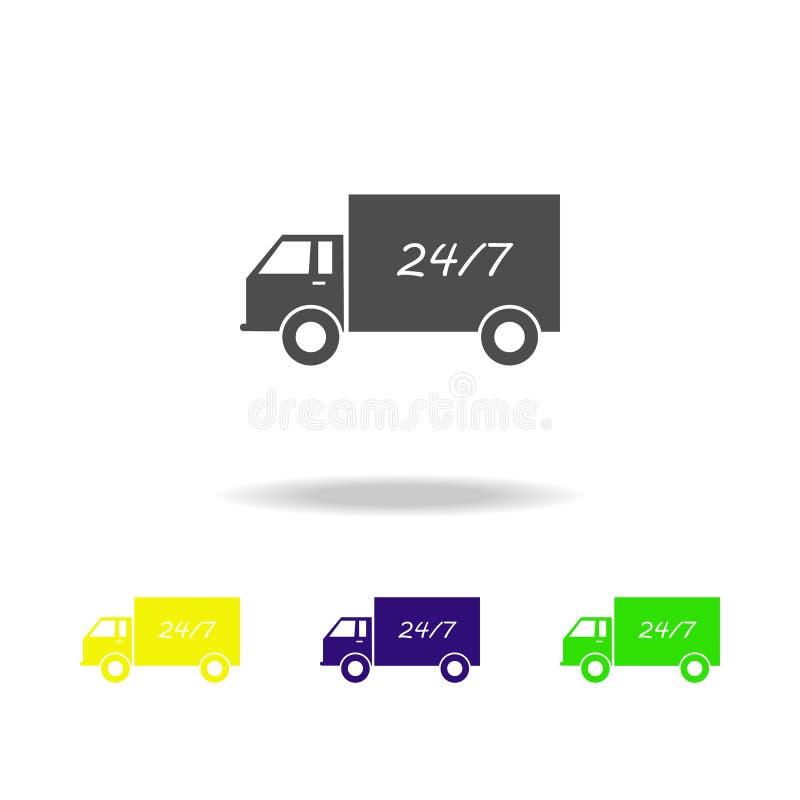 vrachtwagen en 24 7 multicolored pictogrammen Tekens en symboleninzamelingspictogram voor websites, Webontwerp, mobiele app op wi stock illustratie