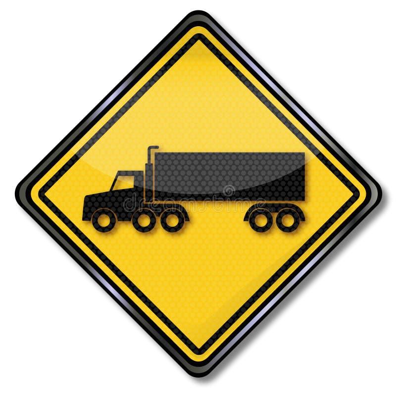Vrachtwagen en oplegger royalty-vrije illustratie