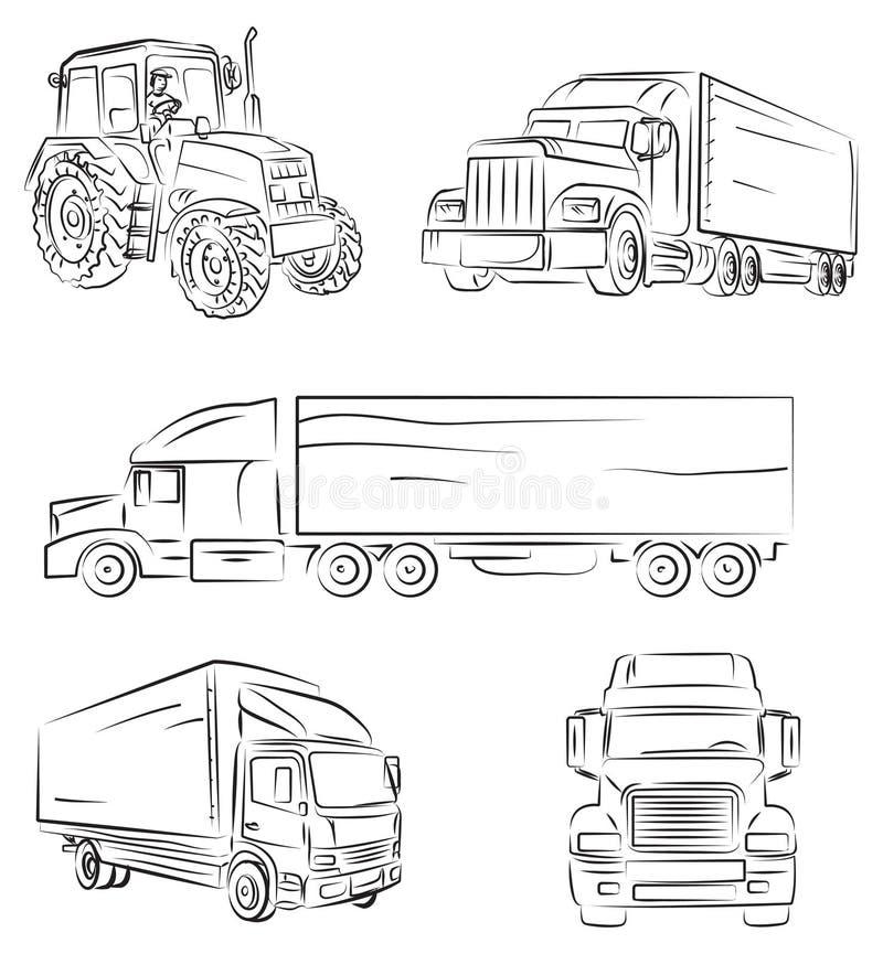 Vrachtwagen en vrachtwagen vector illustratie