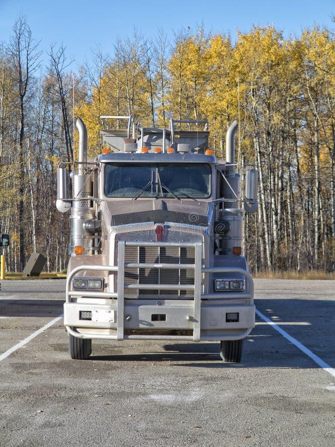 Vrachtwagen in het parkeerterrein wordt geparkeerd dat royalty-vrije stock afbeelding
