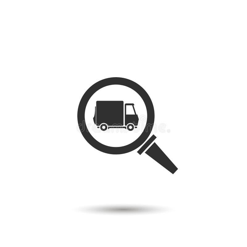 vrachtwagen in het pictogram van het venstervergrootglas concept vrachtwagenonderzoek of de leveringsdienst royalty-vrije illustratie