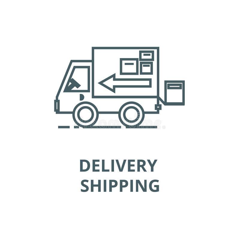 Vrachtwagen, levering die vectorlijnpictogram, lineair concept, overzichtsteken, symbool verschepen vector illustratie
