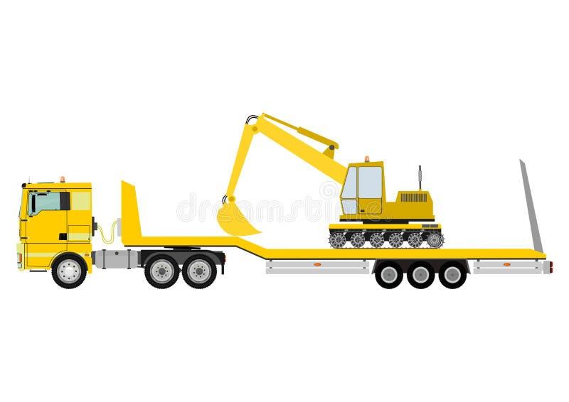 Vrachtwagen met aanhangwagen royalty-vrije illustratie