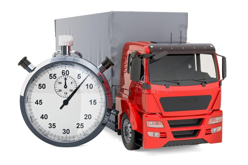 Vrachtwagen met chronometer snel leveringsconcept, het 3D teruggeven royalty-vrije illustratie