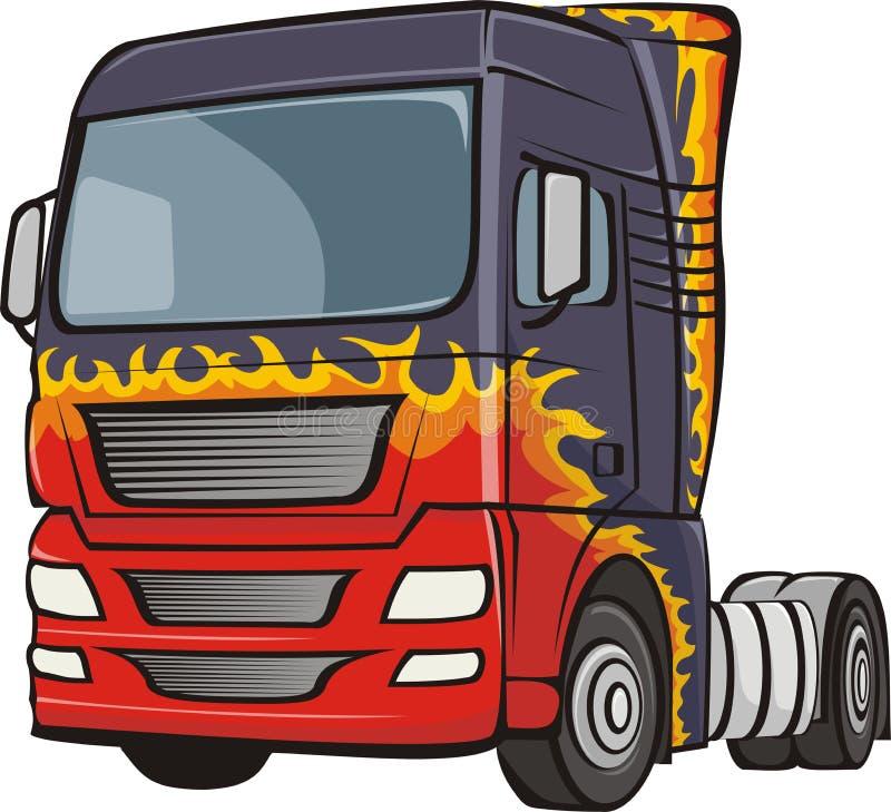 Vrachtwagen met het lichaam in vlammen royalty-vrije illustratie