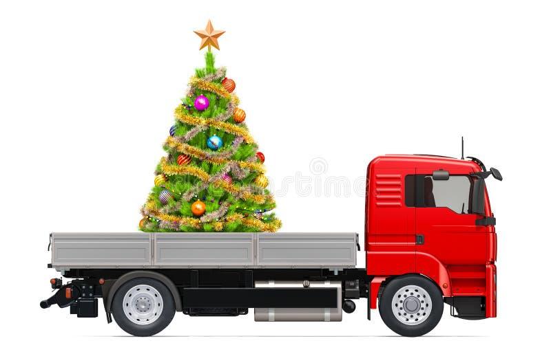 Vrachtwagen met Kerstmisboom Het Concept van de giftlevering, het 3D teruggeven vector illustratie