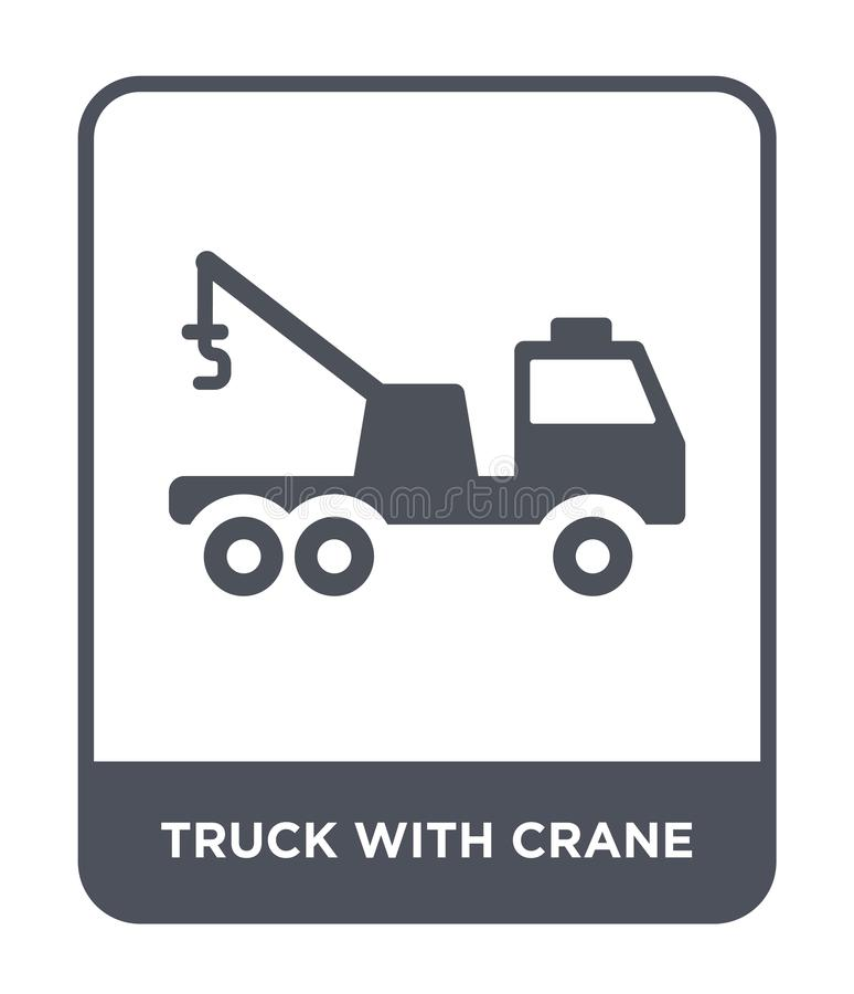 vrachtwagen met kraanpictogram in in ontwerpstijl vrachtwagen met kraanpictogram op witte achtergrond wordt geïsoleerd die vracht stock illustratie