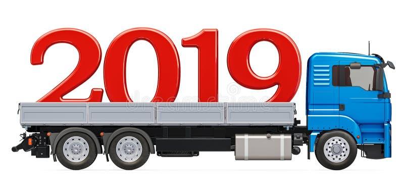 Vrachtwagen met 2019, Nieuwjaarconcept het 3d teruggeven vector illustratie