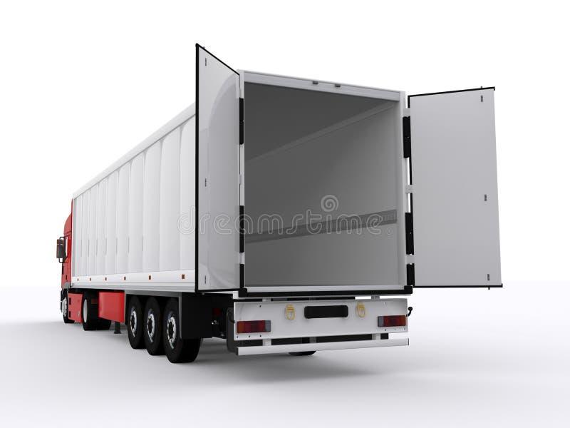 Vrachtwagen met open aanhangwagen stock afbeeldingen