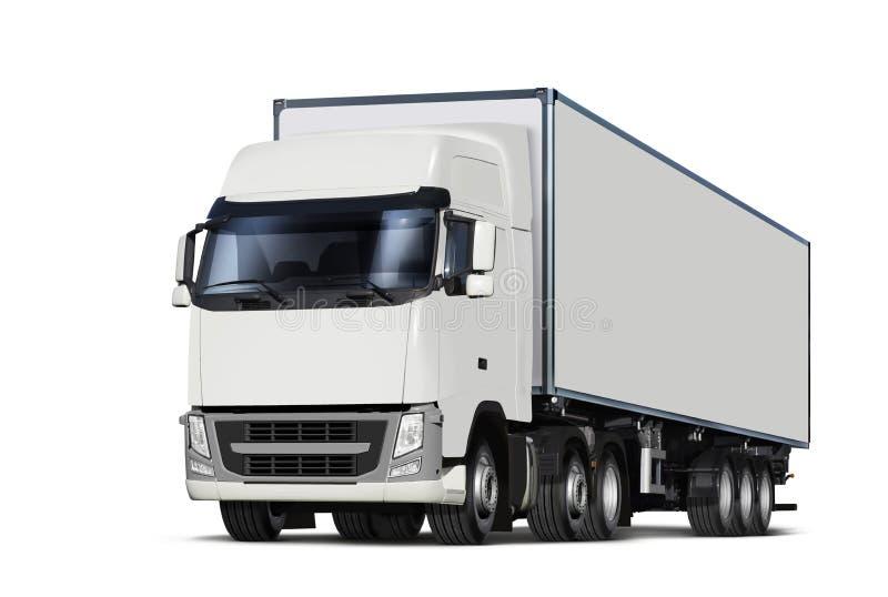 Vrachtwagen met weg wordt geïsoleerd die vector illustratie