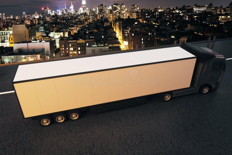 Vrachtwagen op de achtergrond van de nachtstad vector illustratie