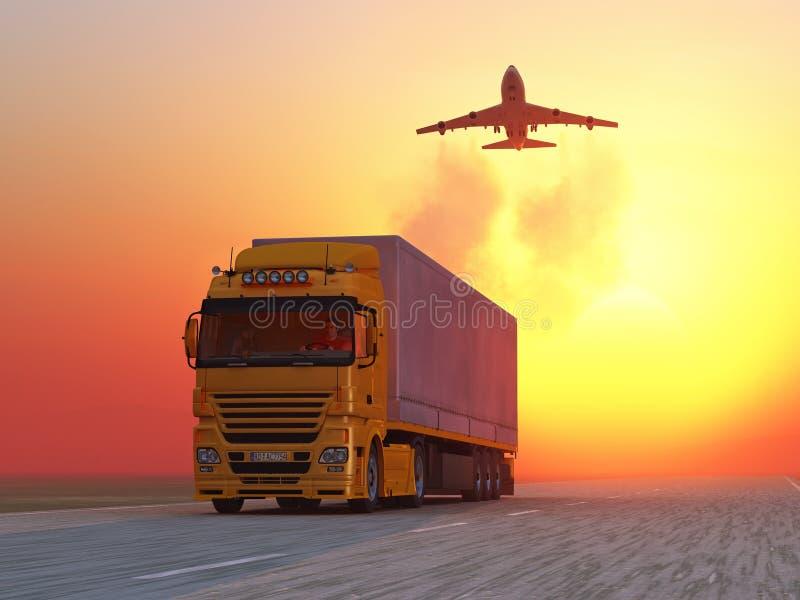 Vrachtwagen op weg bij zonsopgang vector illustratie