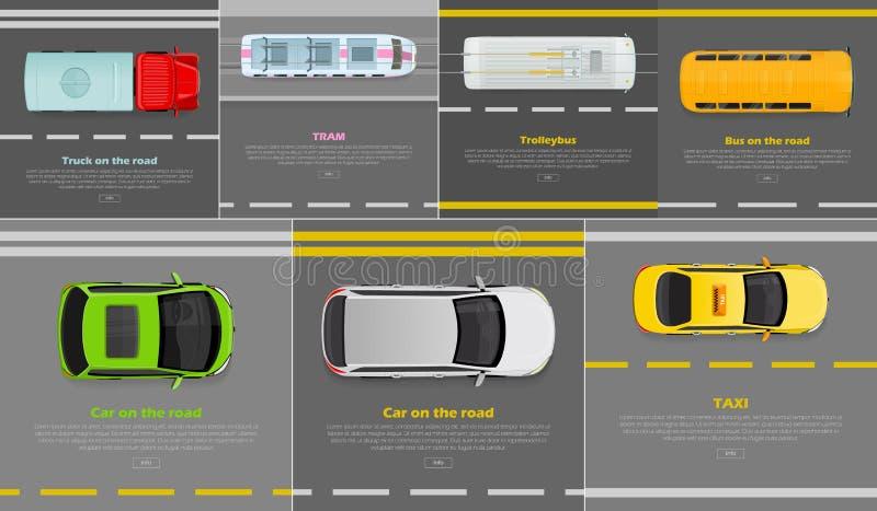 Vrachtwagen op weg tram trolleybus bus Auto Taxi vector illustratie