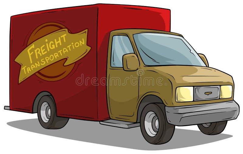 Vrachtwagen van de het vervoers de rode lading van de beeldverhaalvracht royalty-vrije illustratie