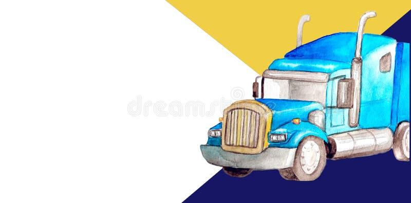 Vrachtwagen van de de waterverf de blauwe vooroplegger van het malplaatjeadreskaartje als tractoreenheid en oplegger om vracht te stock illustratie