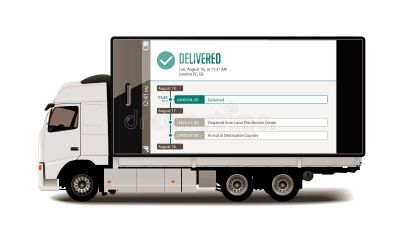 Vrachtwagen - Volgend systeem - Pakkettenlevering royalty-vrije illustratie