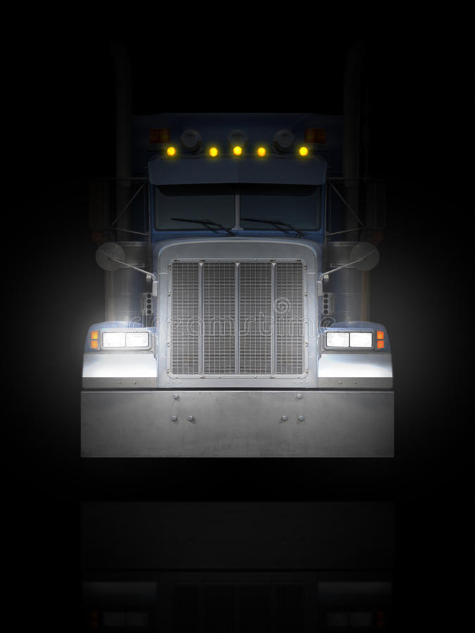 Vrachtwagen voorpeterbilt in dark stock illustratie