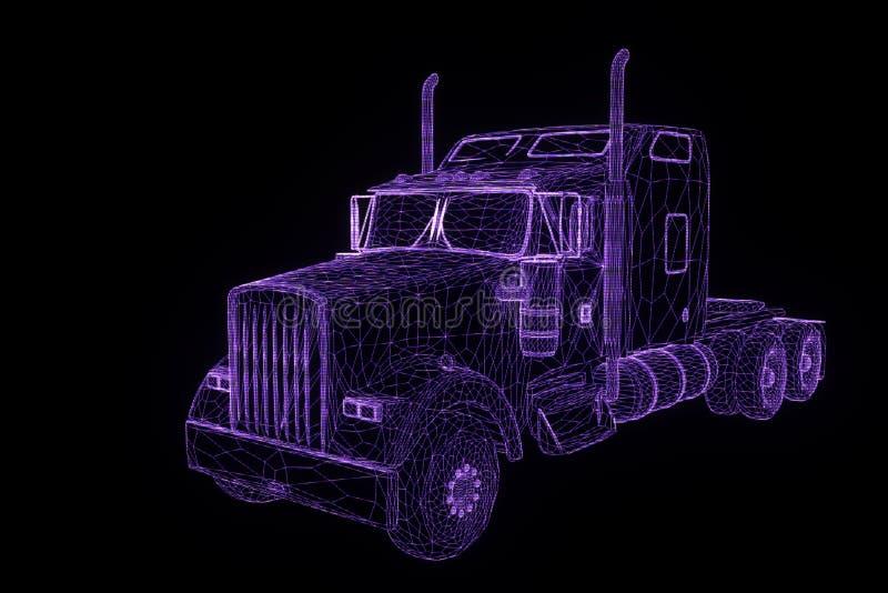 Vrachtwagenauto in de Stijl van Hologramwireframe Het 3D Teruggeven van Nice stock illustratie