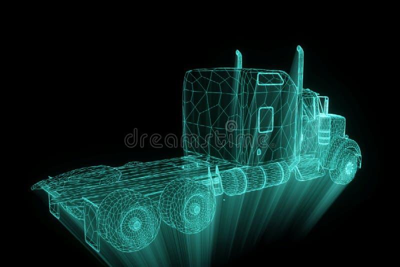 Vrachtwagenauto in de Stijl van Hologramwireframe Het 3D Teruggeven van Nice vector illustratie