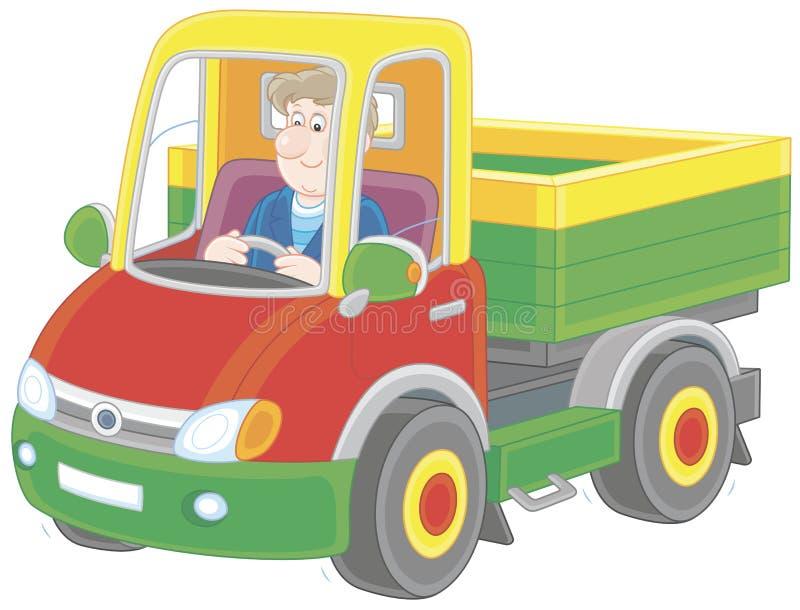 Vrachtwagenchauffeur het berijden stock illustratie