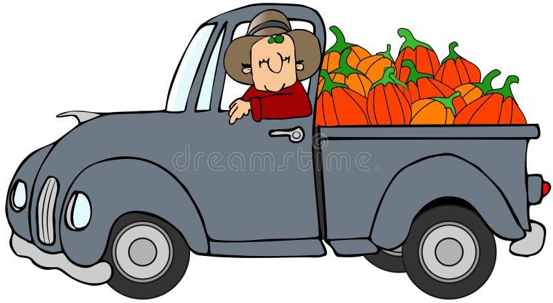 Vrachtwagenlading pompoenen stock illustratie
